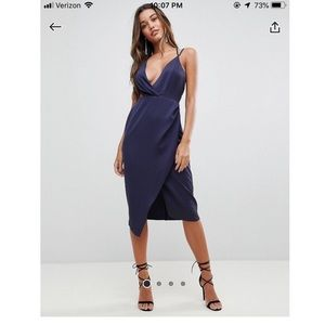 Navy Satin Cutout Midi Dress, ASOS US 0